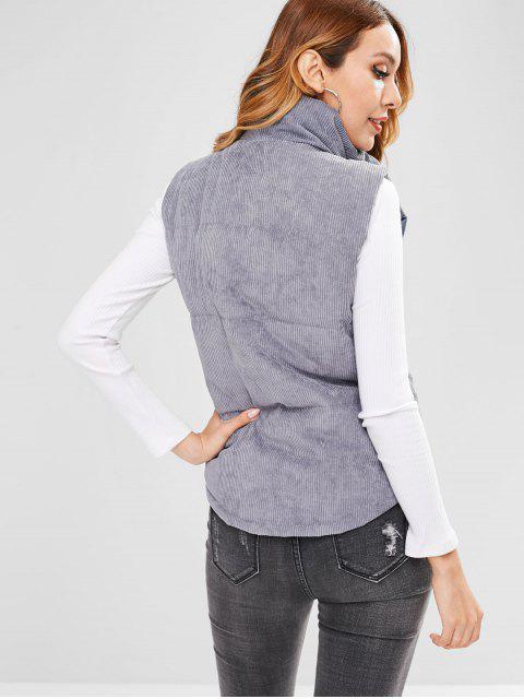 shops Padded Zipper Corduroy Waistcoat - BLUE GRAY L Mobile