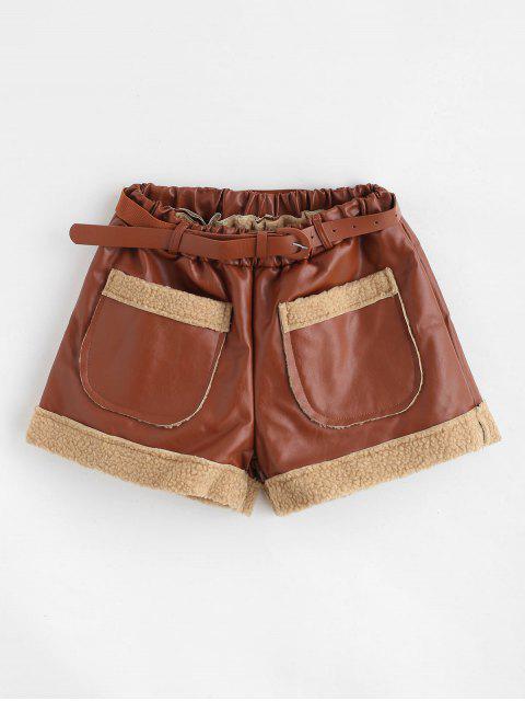 Short de poche en cuir synthétique à ceinture - Brun M Mobile
