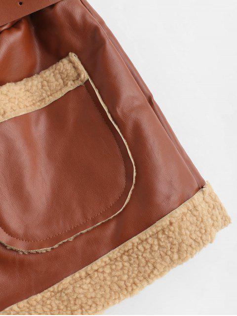 Short de poche en cuir synthétique à ceinture - Brun L Mobile