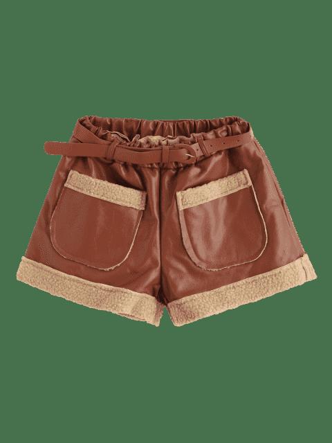 Short de poche en cuir synthétique à ceinture - Brun XL Mobile