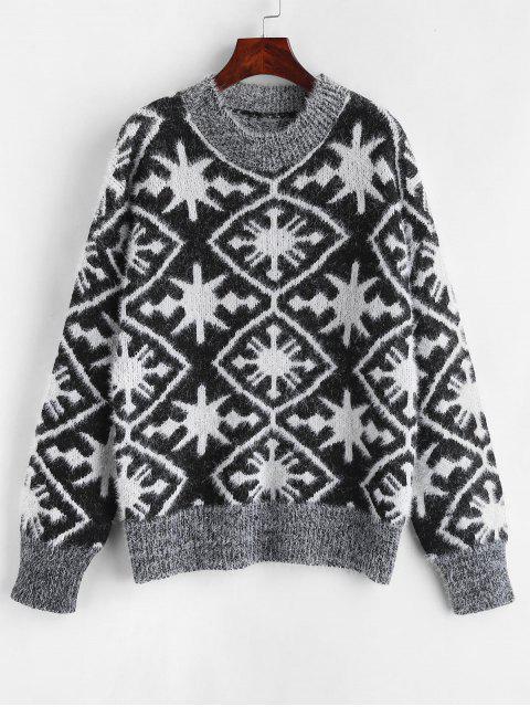 Grafik Flaumiger Strick Pullover - Schwarz Eine Größe Mobile