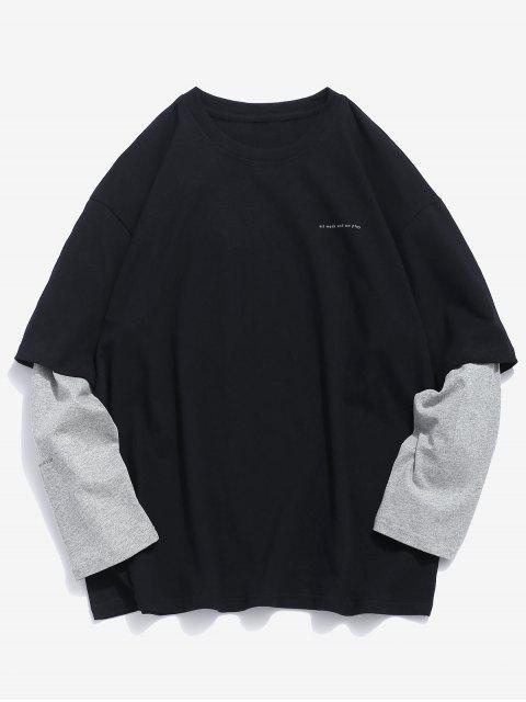 Camiseta de manga larga falsa de dos piezas - Negro XL Mobile