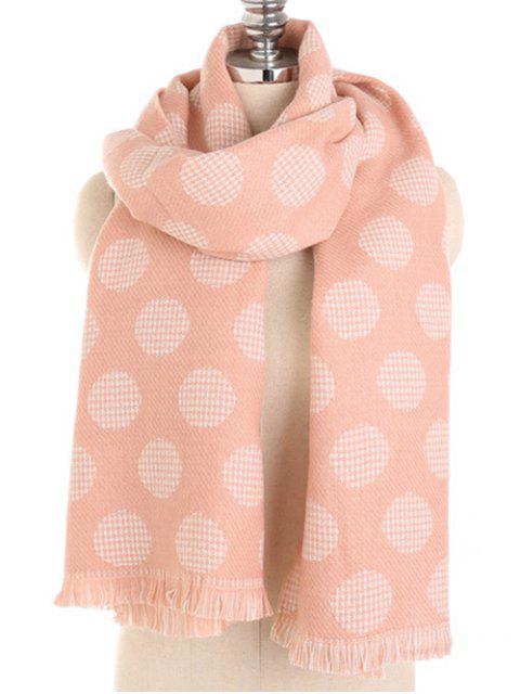 Pañuelo largo con flecos y lunares de invierno - Rosa Naranja  Mobile