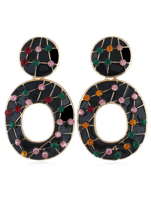 fashion Colored Rhinestone Hollow Out Earrings - BLACK  Mobile