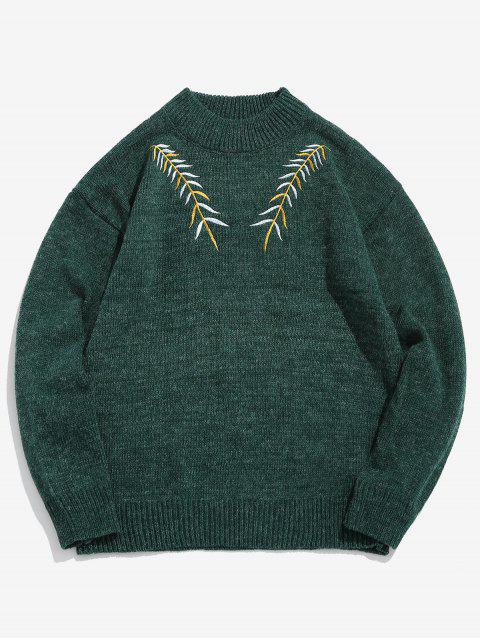 latest Embroidered Leaf Knit Sweater - SEA GREEN M Mobile