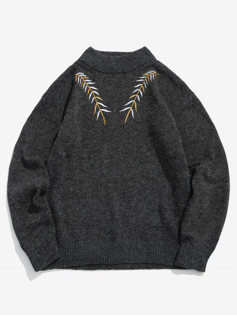 womens Embroidered Leaf Knit Sweater - BLACK XS Mobile