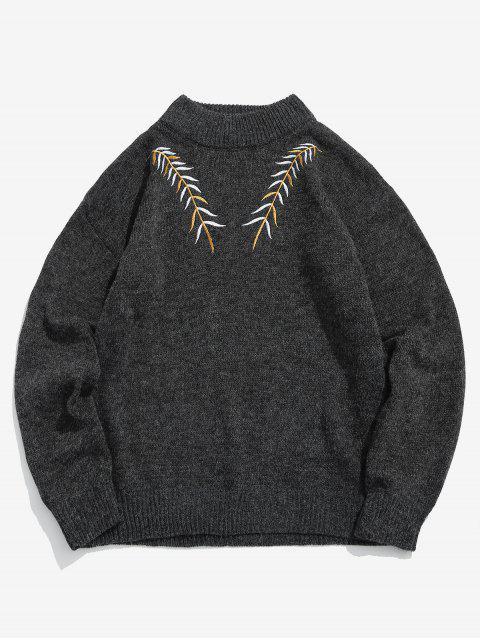 Pull en Tricot Feuille Brodée - Noir XS Mobile