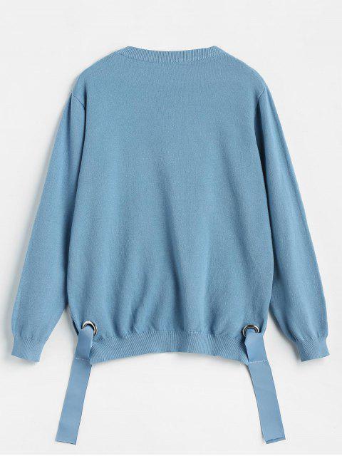 Pull en Tricot LettreNoué à Côté - Ciel Bleu Foncé Taille Unique Mobile