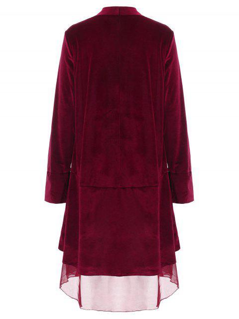 best Swingy Velvet Long Sleeve Coat - CLARET XL Mobile