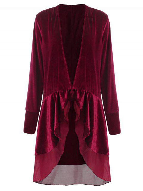 best Swingy Velvet Long Sleeve Coat - CLARET XL Mobile