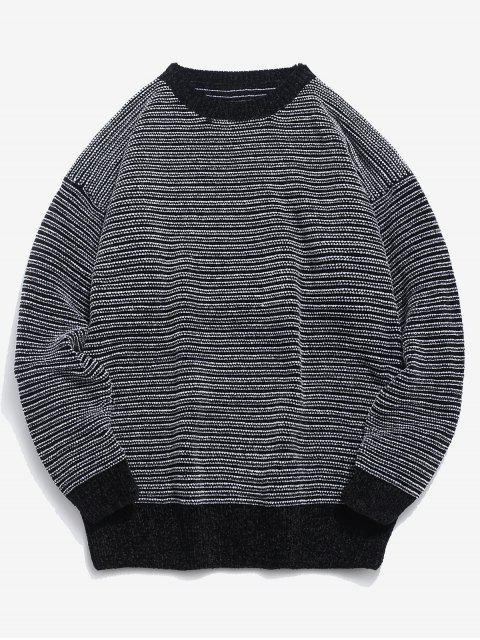 trendy Soft Striped Knit Sweater - BLACK L Mobile