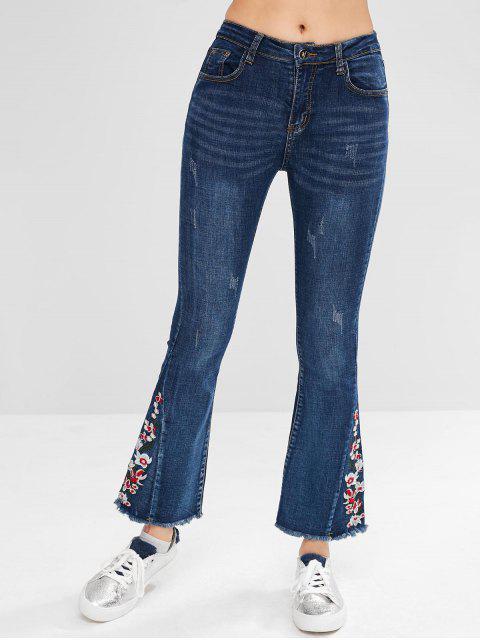 Bordado Frayed Hem Flare Jeans - Azul Oscuro de Denim L Mobile