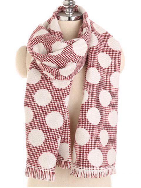 Pañuelo largo con flecos y lunares de invierno - Rojo Cereza  Mobile