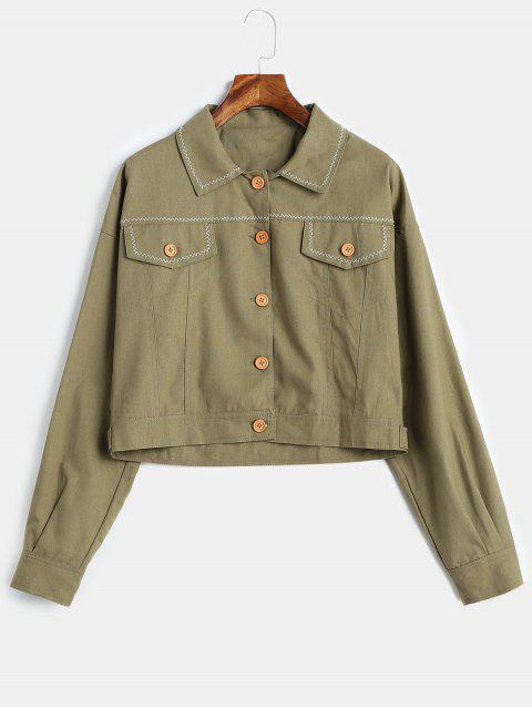 Veste avec Bouton en Avant - Vert Camouflage S Mobile
