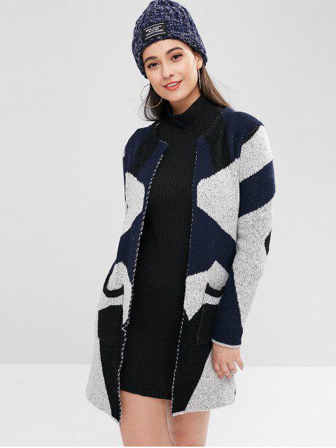 Cardigan Cache Poussière Géométrique en Tricot - Multi Taille Unique Mobile