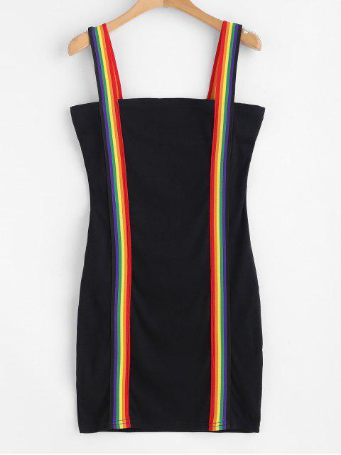 new Rainbow Stripe Mini Cami Bodycon Dress - BLACK L Mobile