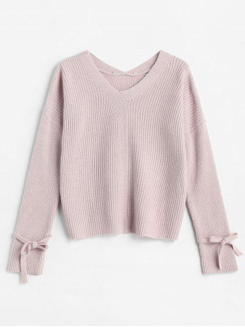 outfits Drop Shoulder Tied Textured Sweater - LIGHT PINK ONE SIZE Mobile