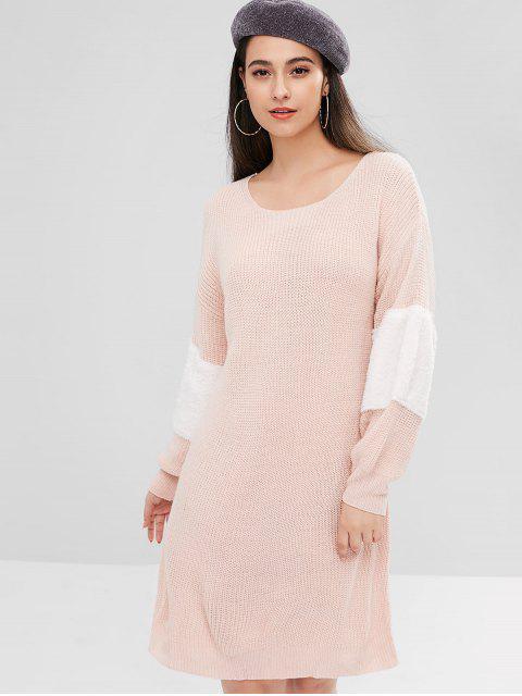 ZAFUL Kontrast Kunstfell Pullover Kleid - Helles Rosa S Mobile