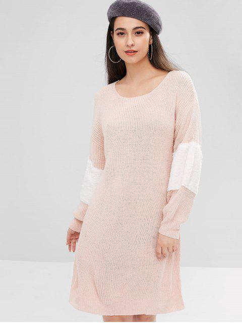 buy ZAFUL Contrast Faux Fur Sweater Dress - LIGHT PINK L Mobile