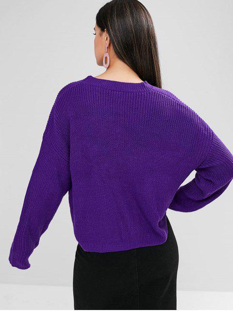 lady ZAFUL Drop Shoulder Striped Boxy Sweater - PURPLE IRIS S Mobile