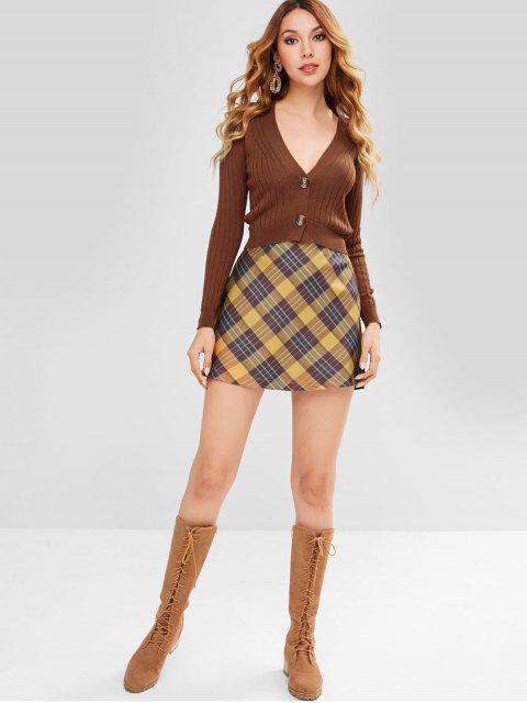 womens ZAFUL Button Front Crop Cardigan - BROWN ONE SIZE Mobile