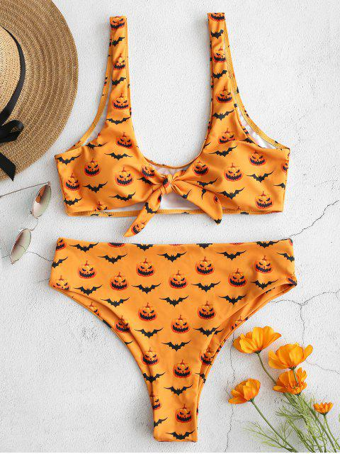 ZAFUL - Halloween-Knot-Bikini-Set mit Print - Schulbus Gelb L Mobile