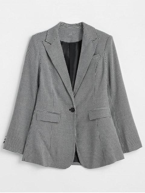 fashion ZAFUL Padded Shoulder One Button Houndstooth Blazer - MULTI L Mobile