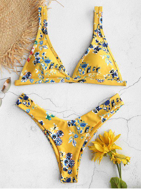 Hoch geschnittener Bikini mit Blumenmuster - Niedliches Gummi Gelb M Mobile
