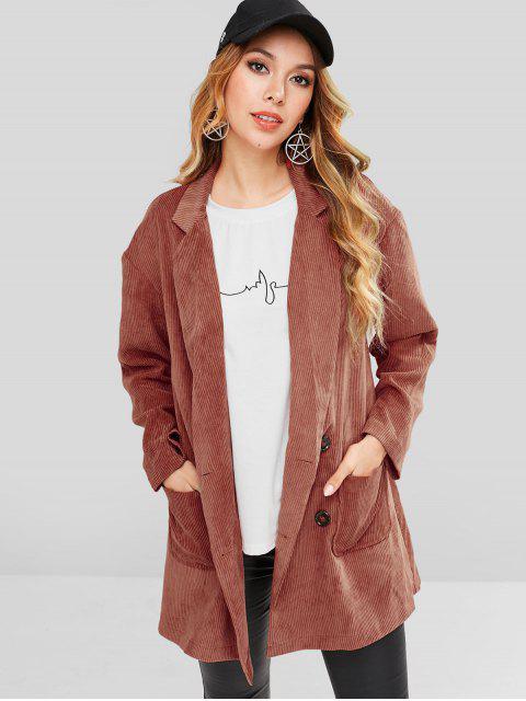 ZAFUL Patch Pockets Longline pana chaqueta - Castaño Rojo M Mobile