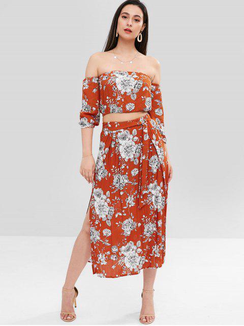 lady ZAFUL Floral Off The Shoulder Top Skirt Co Ord Set - ORANGE L Mobile