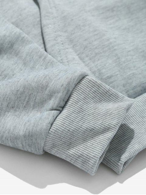 women Solid Pouch Pocket Fleece Hoodie - LIGHT GRAY S Mobile
