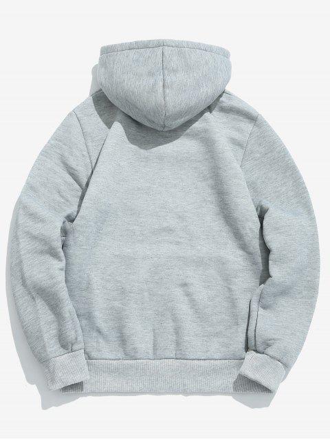 women's Solid Pouch Pocket Fleece Hoodie - LIGHT GRAY M Mobile