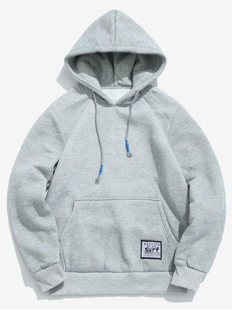 hot Solid Pouch Pocket Fleece Hoodie - LIGHT GRAY L Mobile