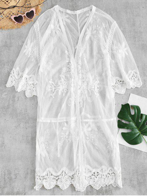 fancy See Thru Crochet Panel Cover Up - WHITE ONE SIZE Mobile