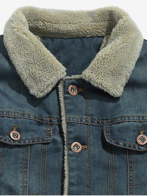 lady Fluffy Lined Denim Jacket - MIST BLUE 2XL Mobile