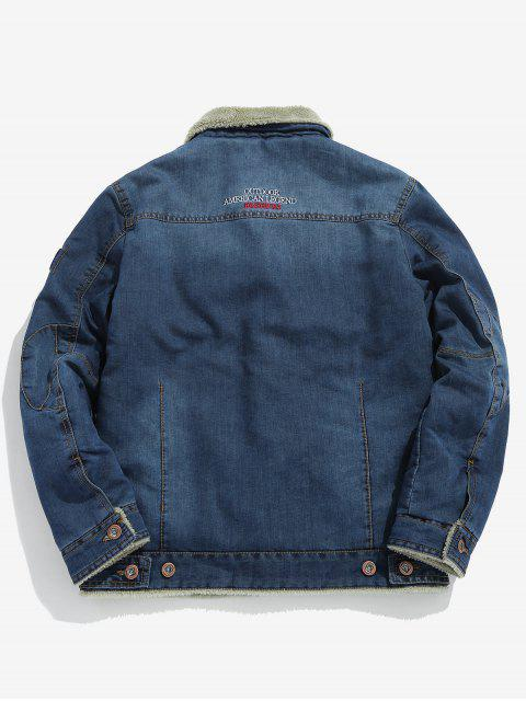 best Fluffy Lined Denim Jacket - BLUE KOI XS Mobile