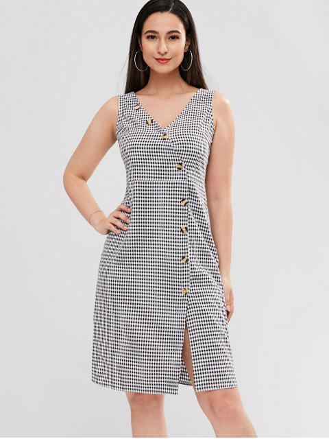 women ZAFUL Diagonal Button Through Gingham Midi Dress - MULTI L Mobile