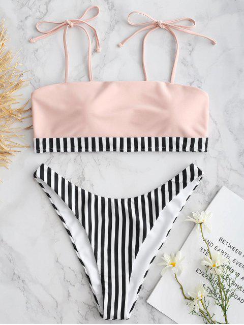 ZAFUL Bikini Rayé à Epaule Nouée à Coupe Haute - Orange Rose L Mobile