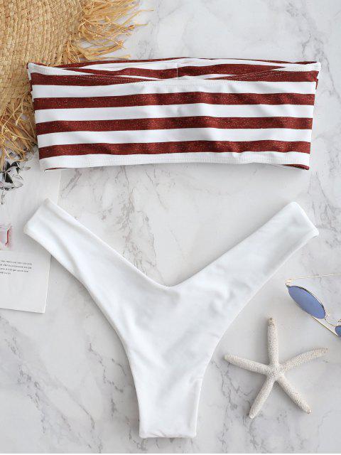 sale ZAFUL Stripe Strapless High Cut Bikini Set - CHERRY RED L Mobile