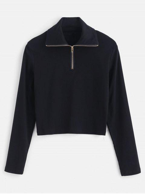 latest Long Sleeve Quarter Zip Cropped Tee - BLACK S Mobile