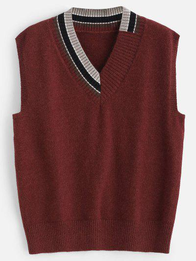 f5b8b087e21ca Striped V Neck Sweater Vest - Red Wine