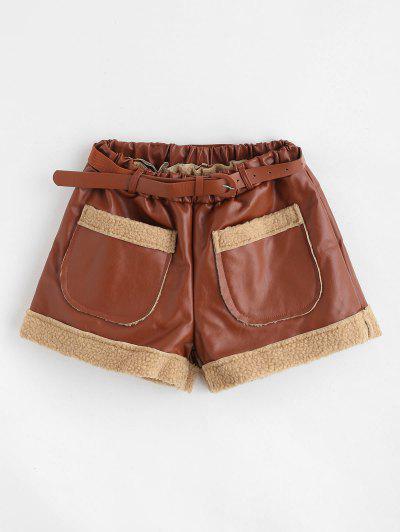 f7ed0cce55 Pantalones Cortos De Bolsillo De Imitación De Cuero Con Cinturón - Marrón Xl