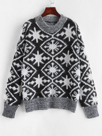Graphic Fuzzy Knit Sweater - Black
