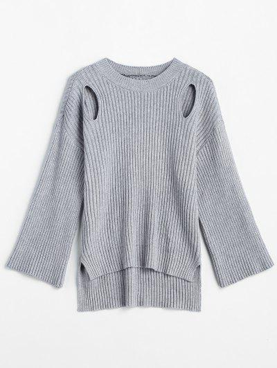 High Low Cut Out Slit Sweater - Gray