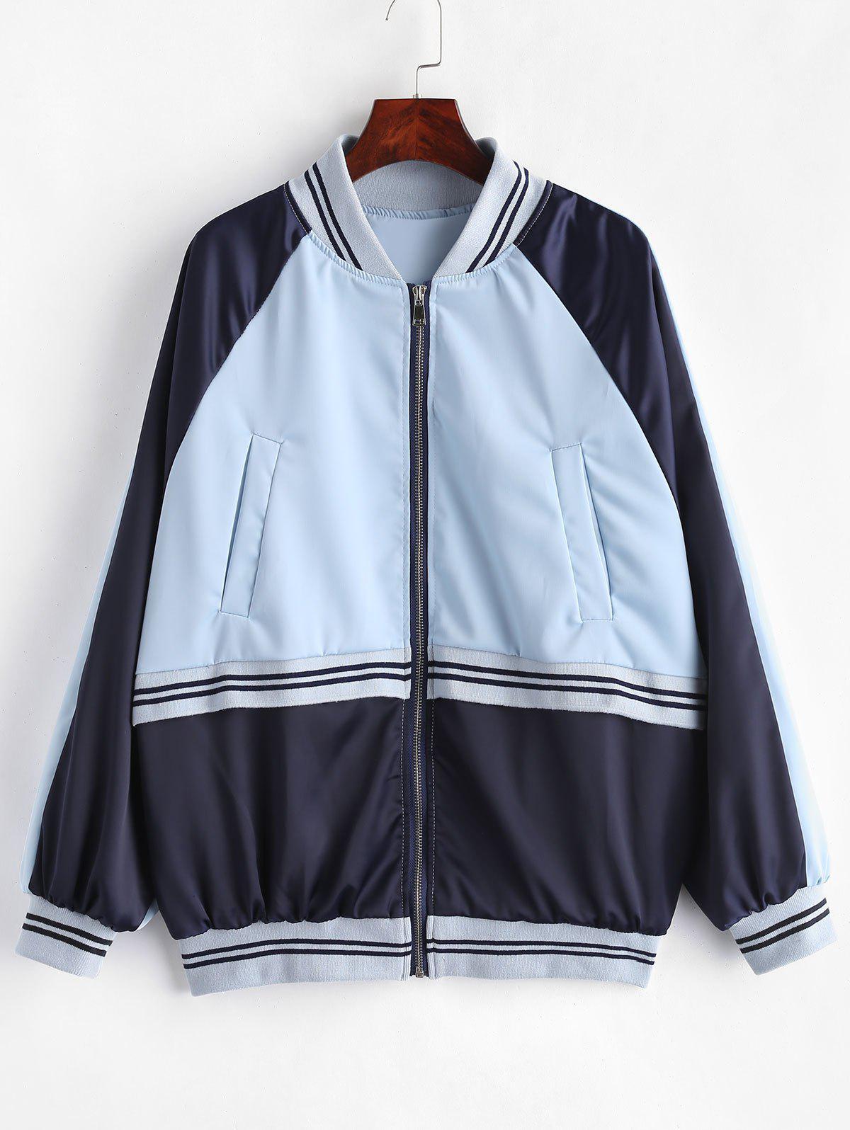 Raglan Sleeve Striped Color Block Jacket