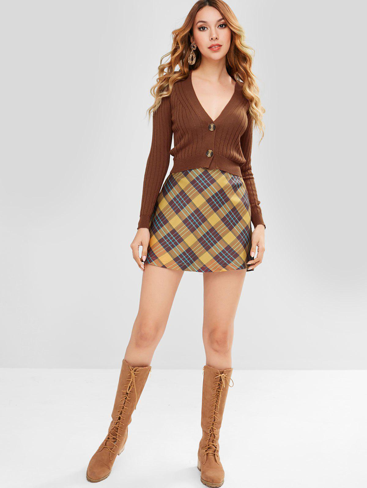 ZAFUL Button Front Crop Cardigan, Brown