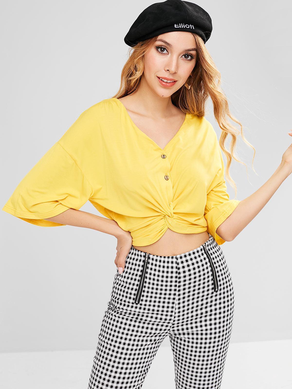 ZAFUL Button Up Twist Top, Yellow
