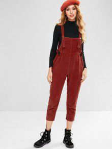 التماس جيوب سروال قصير مستقيم - كستنائي أحمر S