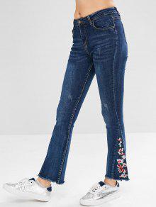 جينز مزين بالخرز والتطريز - الدينيم الأزرق الداكن L