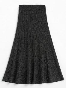 بريق مرونة الخصر منتصف تنورة العجل - أسود